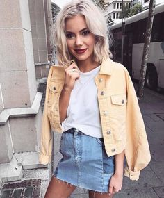 @evatornado denim jacket and skirt - trendy looks