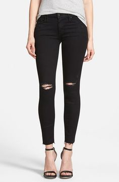 Women's MOTHER 'The Looker' Frayed Ankle Skinny Jeans (Guilty As Sin)