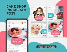 Banner Instagram, Instagram Cake, Instagram Design, Instagram Posts, Shop Banner Design, Cake Design Inspiration, Doughnut Shop, Cake Templates, Cake Logo