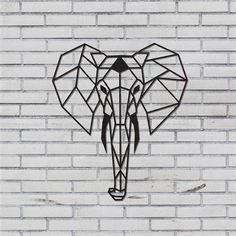 Elephant Metal Wall Art, Black