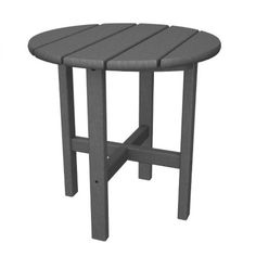 Trex Outdoor Furniture - Cape Cod Round Outdoor End Table W x L at Lowe's. The charming and versatile Trex® Outdoor Furniture™ Cape Cod Round side table is the ideal accent piece for your New England-style outdoor Outdoor End Tables, Patio Side Table, Round Side Table, Table And Chairs, Side Tables, Recycled Furniture, Outdoor Furniture, Detergent Bottles, Plastic Tables