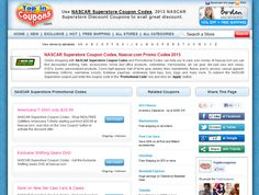 Avail more savings with NASCAR Superstore Coupon Codes and Promotional Codes can help you to save your money. At Nascar.com you can find discounted clothing, hats, accessories, home and office products, collectibles, memorabilia, art, car gear, die-cast cars and cases, DVD's, books, personalized products, Coors light apparel and many more.