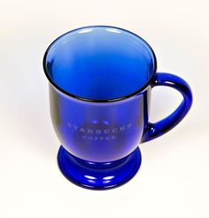 Large Starbucks Blue Cobalt Coffee Mug Anchor Hocking Pedestal Glass #AnchorHocking