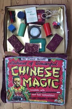 Beautifully lithographed Ernest Sewell Cabinet of Wonderful Chinese Magic Tricks c. 1950