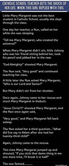 Catholic School Teacher Gets The Shock Of Her Life When This Girl Replied With This funny jokes story lol funny quote funny quotes funny sayings joke hilarious humor stories funny kids funny jokes best jokes ever best jokes