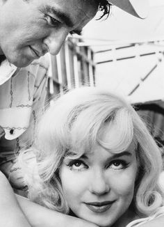 """summers-in-hollywood: """"Marilyn Monroe and Montgomery Clift on the set of The Misfits, 1960 """""""