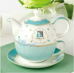 Tea for One Teapot Set with CUP&SAUCER Royal Princess Blue Stripe FineBone China #Foris #RoyalPrincess