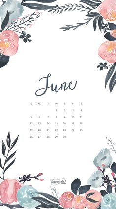 Обои iPhone wallpaper calendar June 2016