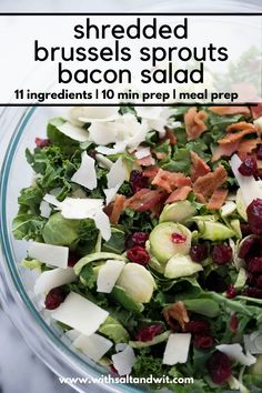 Shredded Brussels Sprouts and Kale Salad with Parmesan is a delicious and healthy salad that is filled with sweet cranberries, salty almonds and bacon! Paleo Recipes Easy, Healthy Salad Recipes, Easy Chicken Recipes, Clean Eating Recipes, Healthy Weeknight Dinners, Healthy Meal Prep, Healthy Eating, Healthy Food, Shredded Brussel Sprout Salad