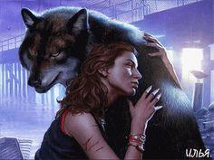 Волк и девушка. - анимация на телефон №1331348