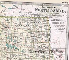 1911 Antique MAP of NORTH DAKOTA, Authentic, Large Scale, Century Atlas, Perfect for Framing, Bismark, Fargo, Devil's Lake, Red River Zoo by BlastsFromThePast on Etsy