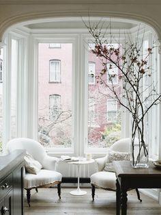 Interior Design Inspiration. Lovely living room & Amazing Windows Urban Cottage Chic Design.