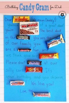 What do you get for the man who has everything? A Candy Gram! My kids planned and wrote this one themselves, and Daddy loved it! {OneCreativ...
