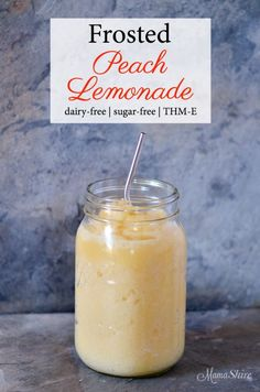 Frosted Peach Lemonade - Dairy-free, Sugar-free, THM-E Deliciously refreshing Frosted Peach Lemonade - Dairy-free, Sugar-free, Trim Healthy Mama-E. Trim Healthy Mama Diet, Trim Healthy Recipes, Thm Recipes, Sugar Free Recipes, Drink Recipes, Healthy Smoothies, Healthy Drinks, Smoothie Recipes, Sweets