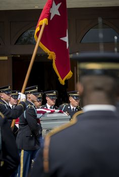 The flag-draped casket of U.S. Army Maj. Gen. Harold J. Greene is taken from the chapel during a military funeral in his honor at Joint Base Myer-Henderson Hall's Memorial Chapel in Arlington, Va., Aug. 14, 2014.  Greene is the highest-ranking service member killed in the wars in Iraq and Afghanistan.  (U.S. Army photo by Staff Sgt. Bernardo Fuller)