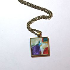Original Acrylic Painting ~ Abstract Art Pendant Necklace  by Dana Marie