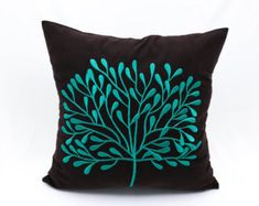 Teal Decorative Pillow Cover, Home decor, Dark Brown Linen Teal Tree Embroidery, Tree Pillow Case, Floral Throw Pillow, Modern pillow