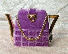 "Annie Rowe Teapot/Purse, For Decor Only Purple ""Paris"" Purple Love, Purple Shoes, All Things Purple, Purple Rain, Shades Of Purple, Purple Purse, Teapots Unique, Purple Handbags, Teapots And Cups"