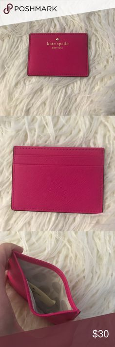 Kate spade small wallet Brand new never used Kate spade small wallet with 3 card slots and one large pocket. Leather. Color fuschia. kate spade Other