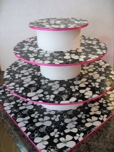 I'm using this idea for making a custom cake stand using our wedding colors.  There will be a small cake on top and cupcakes on the bottom tiers.