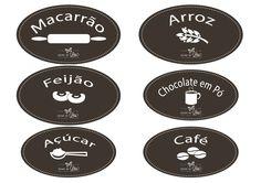 Etiquetas para potes de mantimentos - Coisas da Léia Candy Colors, String Art, Tupperware, Decoupage, Stencils, Printables, Chocolate, Tags, Diy