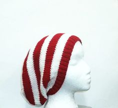Red white stripe slouchy hat knitted large size   by CaboDesigns