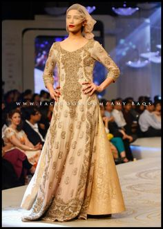 HSY Pantene Bridal Couture Week 2013 Anarkali Cream and Gold