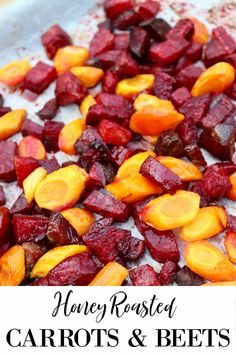 Honey roasted carrots and beets are a beautiful and delicious fall seasonal side dish. With minimal ingredients it's an inexpensive side dish for a weeknight dinner but also worthy to accompany your Thanksgiving table. Side Dish Recipes, Veggie Recipes, Vegetarian Recipes, Healthy Recipes, Cooking Recipes, Side Dishes Easy, Autumn Vegetable Recipes, Game Recipes, Healthy Eats