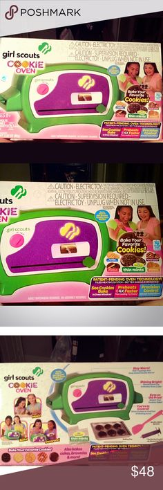 """NIB Girl Scout cookie oven An awesome spin on the """"easy-bake oven"""", Girl Scout style! An absolute favorite toy with ability to teach and refine early development of baking abilities! Many varieties of mixes (sold separately) and recipes. Does come with thin mint cookie mix to get you started as well as all baking utensils. Love love love!! Other"""