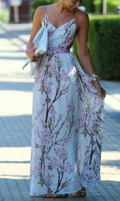 Apricot Florals V-neck Spaghetti Straps Backless Maxi Dress - Bernard Lafond Furs Backless Maxi Dresses, Floral Maxi Dress, Dress Skirt, Dress Up, Pretty Dresses, Beautiful Dresses, Chiffon Fabric, Dress To Impress, Party Dress