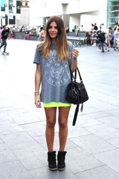 My go to: baggy graphic tee and tight body con. NEED those sneaker wedges though!