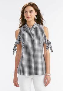 Gingham Tie Cold Shoulder Shirt-Plus Sewing Blouses, Cold Shoulder Shirt, Plus Size Women's Tops, Dress Shirts For Women, Dresses For Teens, Refashion, Diy Clothes, Fashion Dresses, Outfits