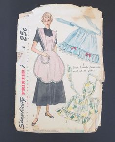 US $13.99 Used in Collectibles, Sewing (1930-Now), Patterns, vintage 1946 Simplicity Apron Pattern #2644.