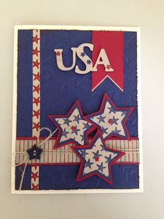 4th of July card. Stampin Up colors: Kraft, Cherry Cobbler & Night of Navy. Cricut cartridge Stand & Salute