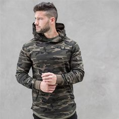 2018 spring new Mens Camouflage Hoodies Fashion leisure pullover fitness Bodybuilding jacket Sweatshirts sportswear clothing Camouflage Sweatshirt, Camo Hoodie, Camouflage Hoodies, Military Camouflage, Camouflage Clothing, Camouflage Fashion, Camo Men, Military Green, Rugged Style