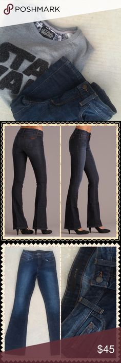 """Freakin Cool Jeanssale Comfortable jeans with just the right amount of stretch yet still full of style. High waisted boot cut with a single button closure. 5 pocket styling with a clean wash and slight wiskering denim coloring effect. Gently loved and used. 98% cotton 2% elastin. 32"""" length.  Joes Jeans Stephanie color of denim. Denim, Guitars, Cadillacs, and play some Hillbilly music. sale Joe's Jeans Jeans Boot Cut"""