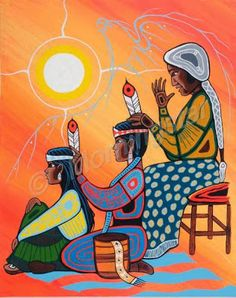 Getting ready for the Pow Wow by Shelly Fletcher kp Native American Paintings, Native American Artists, American Indian Art, Aboriginal Art, Aboriginal Education, Indigenous Art, Native Art, Native Rose, Mexican Art