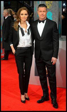 Brad Pitt And Angelina Jolie Dress To Impress With Matching Shawl Lapel Tuxedos At The 2014 BAFTAs