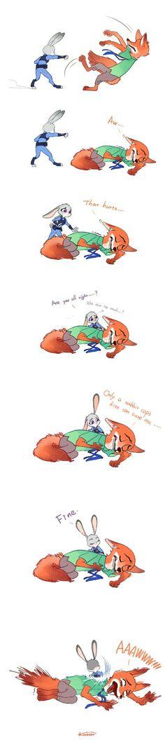 A rabbit cop's kiss.