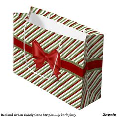 Red and Green Candy Cane Stripes with Bow Large Gift Bag