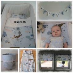 Sengetøy, sovepose,gardiner, lekepose og vimpel til barnerommet