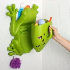 $26.09 - Boon Pod Bath Toy Scoop, Green Frog scoop up kid's bath toys, drains while hanging on the frog, there is a little shelf for the shampoo, etc, and then you can hang stuff on the frog's feet! #amazon.com