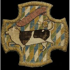 The Oxburgh Hangings: Embroidered panel of Jupiter, a dog belonging to Mary, Queen of Scots.  Ca. 1570-1585.