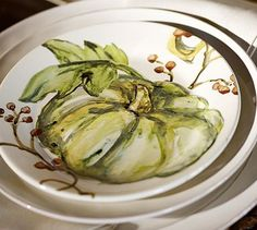 Watercolor Pumpkin Plates, Set of 4 #potterybarn (ivory though, may nto coordinate with white staples works with green plates though)