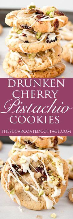 Drunken Cherry Pistachio Cookies - The Sugar Coated Cottage Cookie Desserts, Just Desserts, Cookie Recipes, Delicious Desserts, Dessert Recipes, Yummy Food, Fruit Cookies, Buttery Cookies, No Bake Cookies