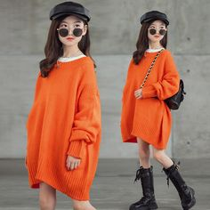 Korean Winter Outfits, Winter Outfits For Girls, Little Girl Outfits, Cute Girl Outfits, Kids Outfits Girls, Korean Outfits, Sweaters Knitted, Cheap Sweaters, Girls Sweaters