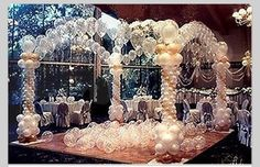 Balloon columns and arches for a dance floor