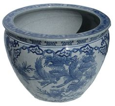 Chinese Porcelain Fish Bowl Planters with Flying Cranes; many sizes available. (http://www.orientalfurnishings.com/chinese-porcelain-fish-bowl-planters-with-flying-cranes/)