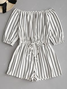 Tied Bowknot Off Shoulder Striped Romper Buy Связанный бандаж с плеча полосатый Romper, sale ends soon. Be inspired: discover affordable quality shopping on Gearbest Mobile! - Jumpsuits and Romper Cute Casual Outfits, Cute Summer Outfits, Stylish Outfits, Teen Fashion Outfits, Outfits For Teens, Trendy Fashion, Feminine Fashion, Rompers Women, Jumpsuits For Women