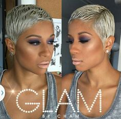 a GLAM Platinum blonde Cut life to the next level. Pixie Styles, Curly Hair Styles, Natural Hair Styles, Short Hair Styles, Short Sassy Hair, Short Hair Cuts, Pixie Cuts, Edgy Pixie, Short Pixie